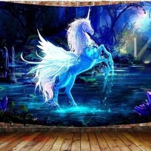 🆕🎃Blue Flying Unicorn Tapestry Wall Hanging